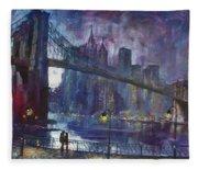 Romance By East River Nyc Fleece Blanket
