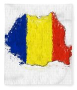 Romania Painted Flag Map Fleece Blanket