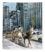 New York 5th Avenue Ride - Fine Art Fleece Blanket
