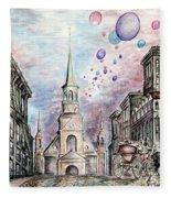Romantic Montreal Canada - Watercolor Pencil Fleece Blanket
