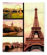 Romantic Paris Sunset Collage Fleece Blanket