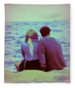 Romantic Seaside Moment Fleece Blanket