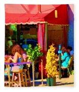 Romantic Terrace Dinner Date Piazzetta Bistro Rue St Denis French Cafe Street Scene Carole Spandau  Fleece Blanket