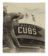 Ron Santo Chicago Cub Statue In Heirloom Finish Fleece Blanket