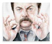 Ron Swanson Mustache Portrait Fleece Blanket