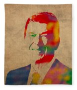 Ronald Reagan Watercolor Portrait On Worn Distressed Canvas Fleece Blanket