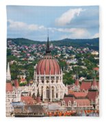 Rooftop Of Parliament Building In Budapest Fleece Blanket