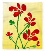 Rooster Flowers Fleece Blanket