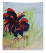 Rooster - Red And Black Rooster Fleece Blanket