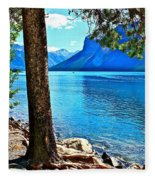 Rooted In Lake Minnewanka Fleece Blanket