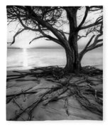 Roots Beach In Black And White Fleece Blanket