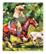 Roping A Runaway Fleece Blanket