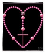 Rosary With Pink And Purple Beads Fleece Blanket