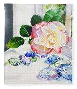 Rose And Glass Rocks Fleece Blanket