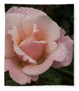 Rose And Rain - Pale Pink Raindrops Fleece Blanket