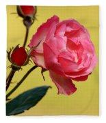 Rose And Rose Buds Fleece Blanket
