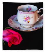 Rose And Tea Cup Fleece Blanket