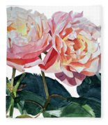 Pink And Yellow Rose Anne Fleece Blanket