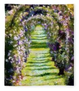 Rose Arch In Summer Sunshine Fleece Blanket