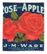 Rose Brad Apples Crate Label Fleece Blanket
