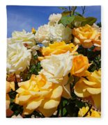 Rose Garden Art Prints Yellow Orange Rose Flowers Fleece Blanket