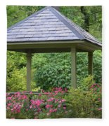 Rose Garden Gazebo Fleece Blanket