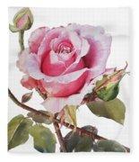 Watercolor Of Pink Rose Grace Fleece Blanket
