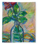 Rose In A Bottle Fleece Blanket