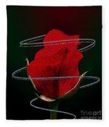 Rose In A Dark Fleece Blanket