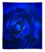 Rose In Blue Fleece Blanket