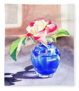 Rose In The Blue Vase  Fleece Blanket