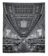 Rose Main Reading Room At The Nypl Bw Fleece Blanket