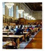 Rose Main Reading Room New York Public Library Fleece Blanket