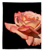 Rose On Black Background Fleece Blanket