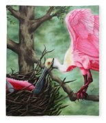 Roseate Spoonbill Nesters  Fleece Blanket