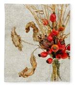 Rosehips And Grasses Fleece Blanket