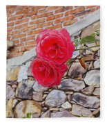 Roses Against The Wall Fleece Blanket