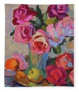 Roses And Apples Fleece Blanket