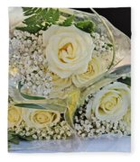 Roses And Baby Breath Fleece Blanket