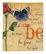 Roses And Butterflies 1 Fleece Blanket