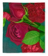 Roses And Carnations Fleece Blanket