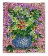 Roses And White Lilacs Lacy Bouquet Digital Painting Fleece Blanket