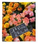 Roses At Flower Market Fleece Blanket