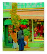Roses At The Flower Shop Fleuriste Coin Vert Rue Notre Dame Springtime Scenes Carole Spandau Fleece Blanket