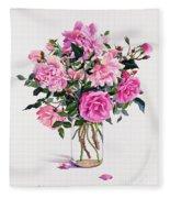 Roses In A Glass Jar  Fleece Blanket