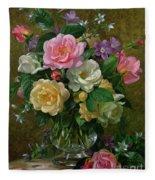Roses In A Glass Vase Fleece Blanket