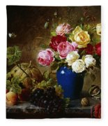 Roses In A Vase Peaches Nuts And A Melon On A Marbled Ledge Fleece Blanket