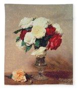 Roses In A Vase With Stem Fleece Blanket