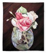 Roses In The Glass Vase Fleece Blanket