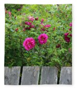 Roses On A Fence Fleece Blanket
